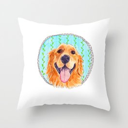 You're Never Fully Dressed without a Smile, Golden Retriever, Whimsical Watercolor Painting, White Throw Pillow