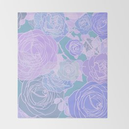 Preppy Purple and Seafoam Green Abstract Contemporary Romantic Roses Throw Blanket