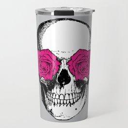 Skull and Roses   Grey and Pink Travel Mug