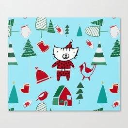 Cute Christmas cat blue Canvas Print