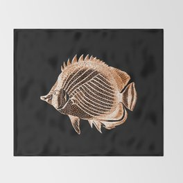 Fish nautical coastal in black background Throw Blanket