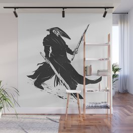 Samurai skull - japanese evil - black and white - fighter illustration - grim reaper cartoon Wall Mural