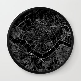 Seoul Black Map Wall Clock