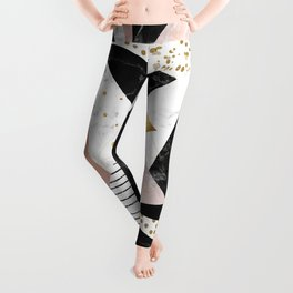 Elegant geometric marble and gold design Leggings