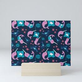 Narwhals Knitting Unicorn Sweaters - Navy Mini Art Print