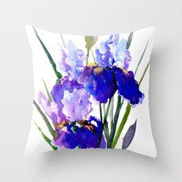 Garden Irises, Blue Purple Floral Design Throw Pillow