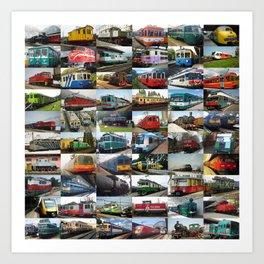 Locomotives collage Art Print
