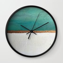 Northern Lights (teal)  Encaustic Painting Wall Clock