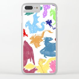 Many Colorful Dragons Clear iPhone Case