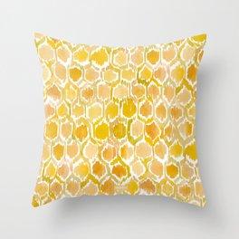 Golden Honeycomb Throw Pillow