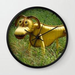 Robot Dog walk, Metal Pet,  Funny recycling sculpture,Trash Art. Outdoor photography Wall Clock
