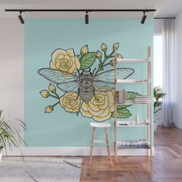 Cicada with Roses - Blue Wall Mural
