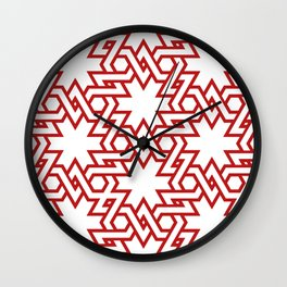 Red and white pattern Wall Clock