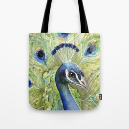 Peacock Watercolor Painting | Exotic Birds Tote Bag