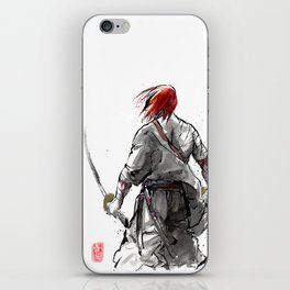 Samurai Red Haired Ronin with calligraphy iPhone Skin