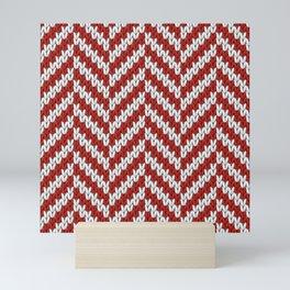 Realistic knitted herringbone pattern red Mini Art Print