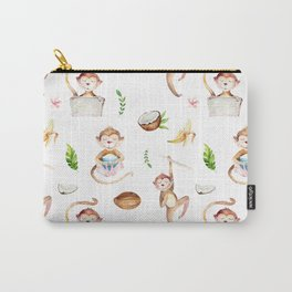 Tropical pink brown green watercolor monkey coconut floral Carry-All Pouch