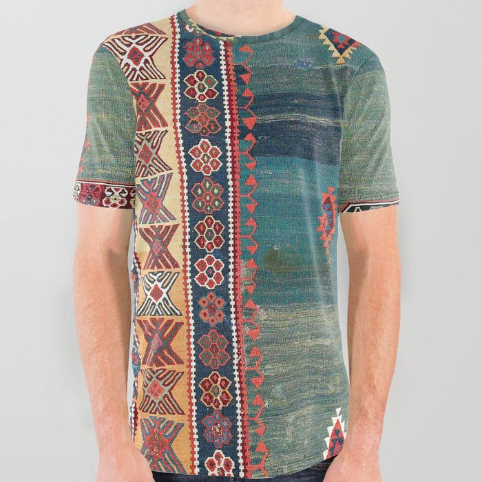 Sivas Antique Turkish Niche Kilim Print All Over Graphic Tee