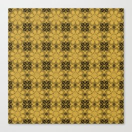 Spicy Mustard Floral Geometric Canvas Print