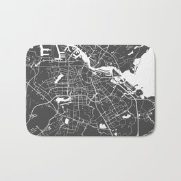 Amsterdam Gray on White Street Map Bath Mat