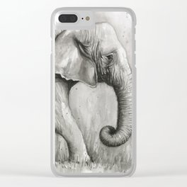 Elephant Black and White Watercolor Animals Clear iPhone Case