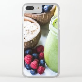 fresh smoothie with fruits, berries, oats and seed Clear iPhone Case