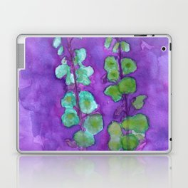 Hollyhock Foxglove Watercolor Indigo Turquoise Moss Laptop & iPad Skin