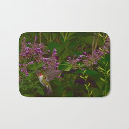 Male ruby-throated hummingbird and agastache 45 Bath Mat