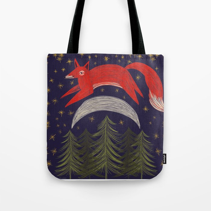 The Fox Jumped Over the Moon Tote Bag