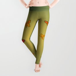 Orange Watercolor Butterfly Design Leggings