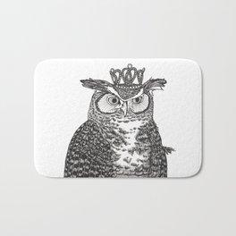 Great Horned Owl Wearing a Glittering Crown Bath Mat