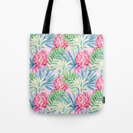 Pineapple & watercolor leaves Tote Bag