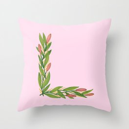 Leafy Letter L Throw Pillow