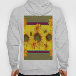 Olive Green Sunflowers Pattern Burgundy Color Floral Art Hoody