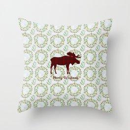 Winter Wreath Merry Christmas Red Buffalo Plaid Reindeer Throw Pillow