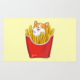 French Corgi Fries Rug