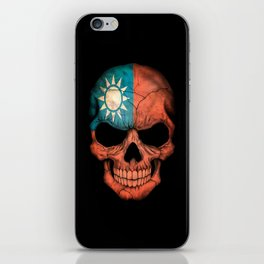 Dark Skull with Flag of Taiwan iPhone Skin