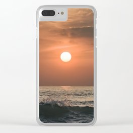 Red sunset in the ocean Clear iPhone Case