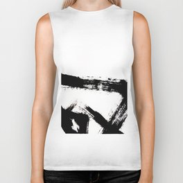 Brushstroke [8] - a simple, abstract, black and white india ink piece Biker Tank