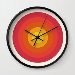 Right On - retro throwback 70s 1970s bullseye beach 70's vibes minimal art by Seventy Eight Wall Clock