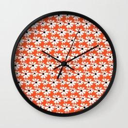 Daisies In The Summer Breeze - Orange White Black Wall Clock