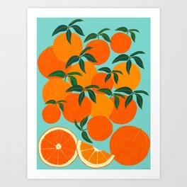 Orange Harvest - Blue Art Print