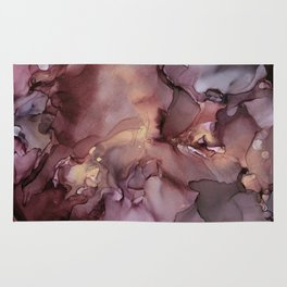 Ink Swirls Painting Lavender Plum Gold Flow Rug