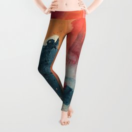 Pour Some Sugar on Me: a colorful mixed media abstract in pinks blues orange and purple Leggings