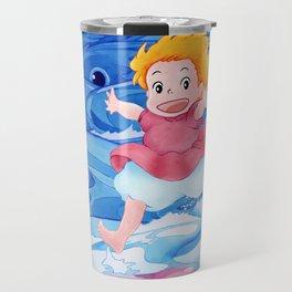 Ponyo Runs on Water with the Big Fishes Travel Mug