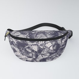 Indigo butterfly photograph duo tone blue and cream Fanny Pack
