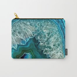 Aqua turquoise agate mineral gem stone - Beautiful Backdrop Carry-All Pouch