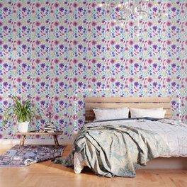 Colouful Watercolour Floral Pattern Wallpaper
