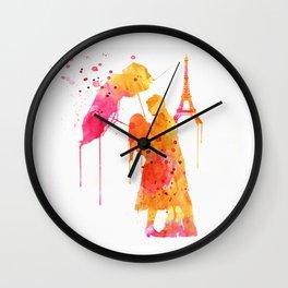 Watercolor Love Couple in Paris Wall Clock