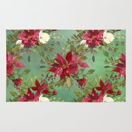 Burgundy red forest green white watercolor Christmas flowers Rug